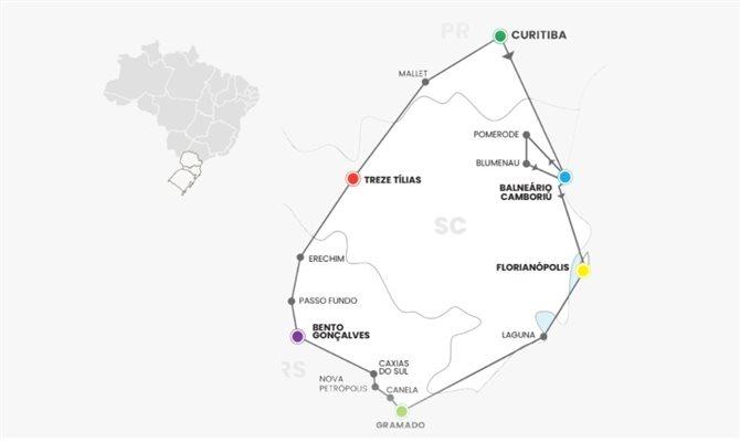 Circuito rodoviário na região Sul do Brasil